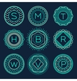 set trendy monograms logotypes linear style vector image