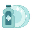 shiny polished dishes and bottle of special vector image vector image
