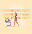 shopping cart with many products inside the basket vector image