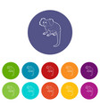 small monkey icons set color vector image
