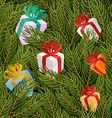 Spruce twigs and gifts seamless pattern Christmas vector image