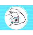 strong man hand with icon of washing mac vector image vector image