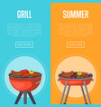 summer grill party flyers with meats on barbecue vector image vector image