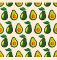 summer pattern with avocadoes seamless texture vector image