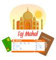 taj mahal lettering travel postcard poster vector image vector image