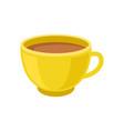 tasty fresh tea or cocoa in yellow cup mug of vector image vector image