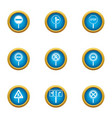 travel guide icons set flat style vector image