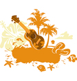 Tropical Banner with a Flower Palm Trees and Ukule vector image vector image