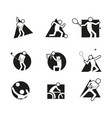 various block sport abstract shape symbol graphic vector image