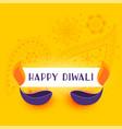 yellow happy diwali background with two diya vector image vector image