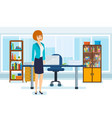 young business woman office interior vector image vector image