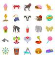 zoo icons set cartoon style vector image