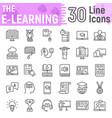 e learning line icon set online education symbols vector image