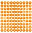 100 gift icons set orange vector image vector image