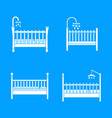 baby crib cradle bed icons set simple style vector image vector image
