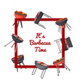 barbecue time poster with charcoal grills vector image vector image