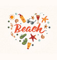 beach word with summer elements sunscreen vector image vector image