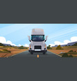 big truck trailer driving on road in contryside vector image vector image