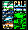 california beach typography tee graphic design vector image vector image