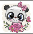 cartoon panda with flowers with a bow vector image vector image