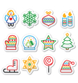 Christmas icons with stroke - Xmas tree angel sn vector image vector image