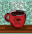 coffee cup with grains pattern vector image vector image