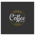 coffee logo on dark background vector image vector image