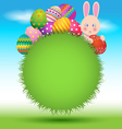 Colorful eggs and bunny on green grass for Easter vector image vector image