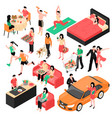 couple daily routine isometric set vector image vector image