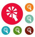 cursor interactive click icons circle set vector image
