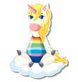 cute unicorn stickers with a unicorn sitting vector image