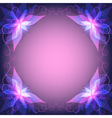 Decorative frame with violet flower vector image vector image