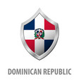 dominican republic flag on metal shiny shield vector image