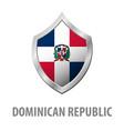 dominican republic flag on metal shiny shield vector image vector image