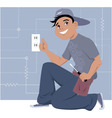 Electrician installing a wall socket vector image