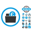 Euro Wallet Flat Icon with Bonus vector image vector image