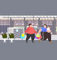 fat obese men with child holding shopping bags vector image