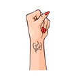 female hand clenched into vector image