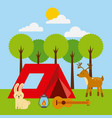 forest outdoor camp tent animlas guitar and vector image