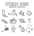 hand drawn doodle sketch icons set fitness vector image