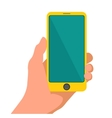 Hand holding smart yellow phone Touching blank vector image vector image