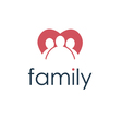 happy family icon in heart vector image vector image