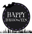 happy halloween bat black circle frame background vector image vector image