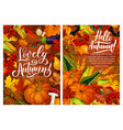 hello autumn posters with harvest and fall leaves vector image vector image