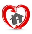 house with heart shape arrows logo vector image vector image