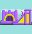 inflated jumping castle and slide concept banner vector image