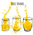juice splashes in glasses hand draw vector image vector image