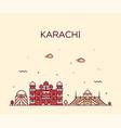 karachi skyline pakistan linear style city vector image vector image
