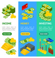 money banner vecrtical set isometric view vector image vector image
