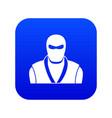 ninja in black mask icon digital blue vector image